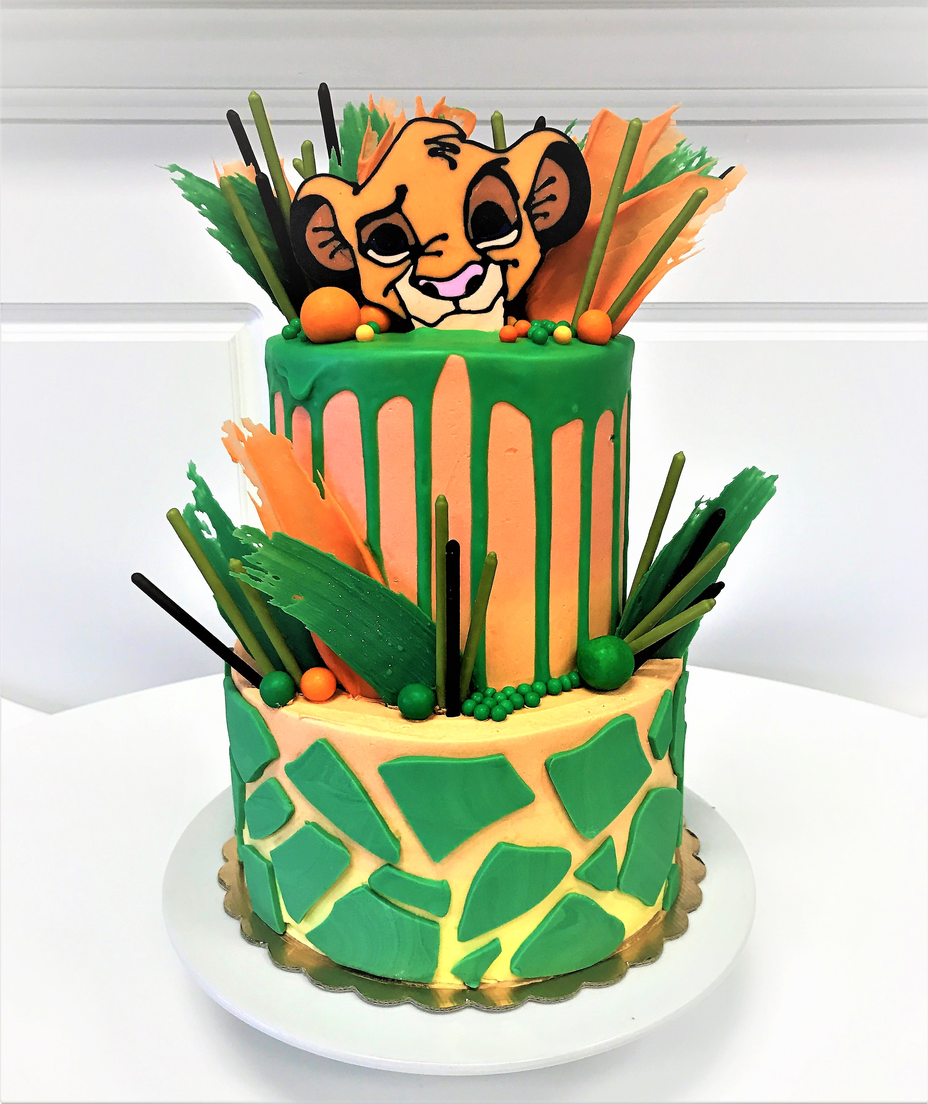 "2 tier: 6"" / 8"" lion king baby shower"