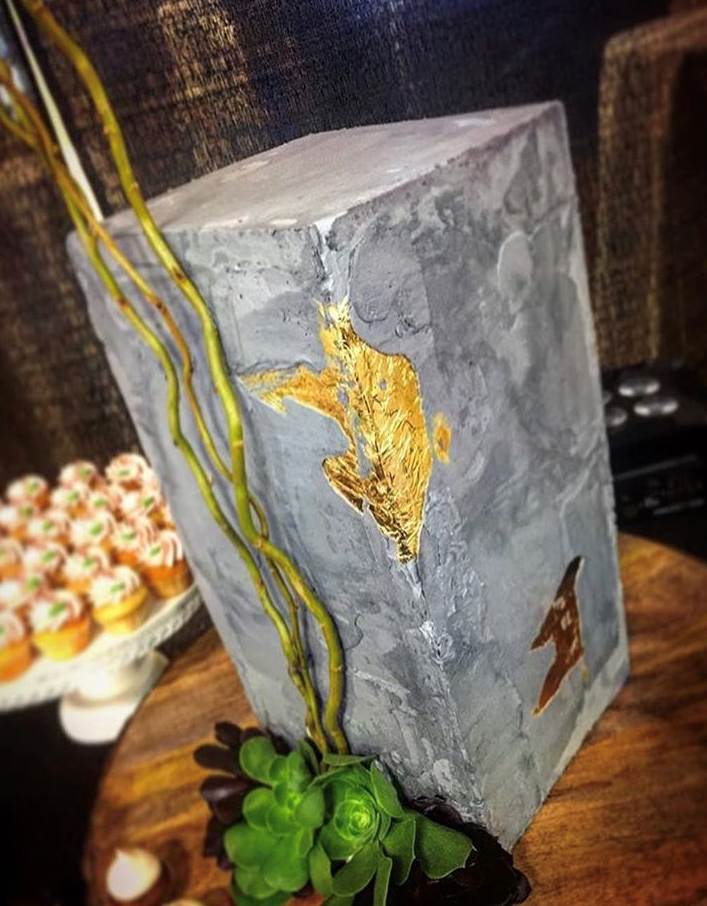 "10"" square tall cement with gold leaf"