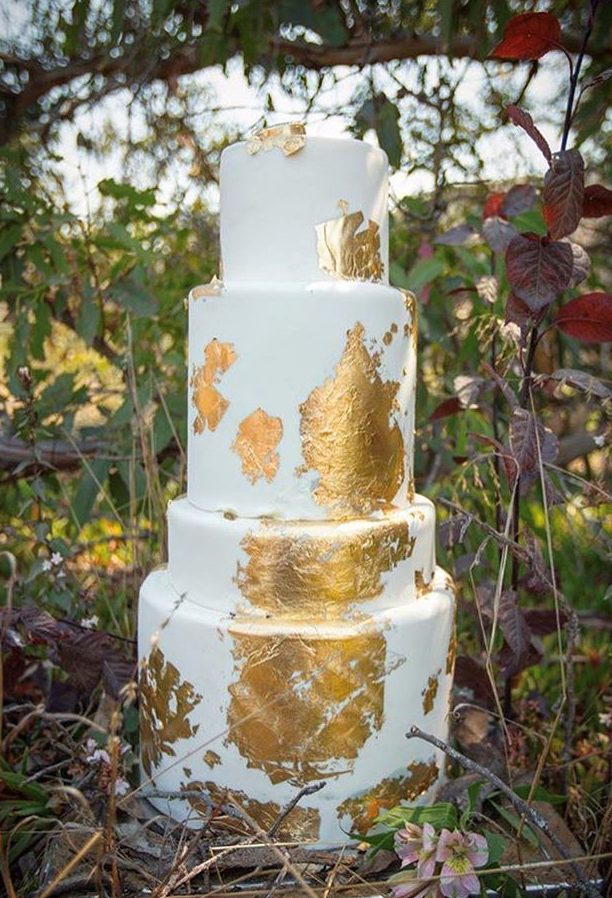"4 tiered: 6"" / 8"" tall, 10"" short / 12"" tall gold leaf"