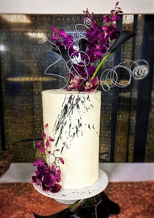 """6"""" tall classic simple with black splatter"""
