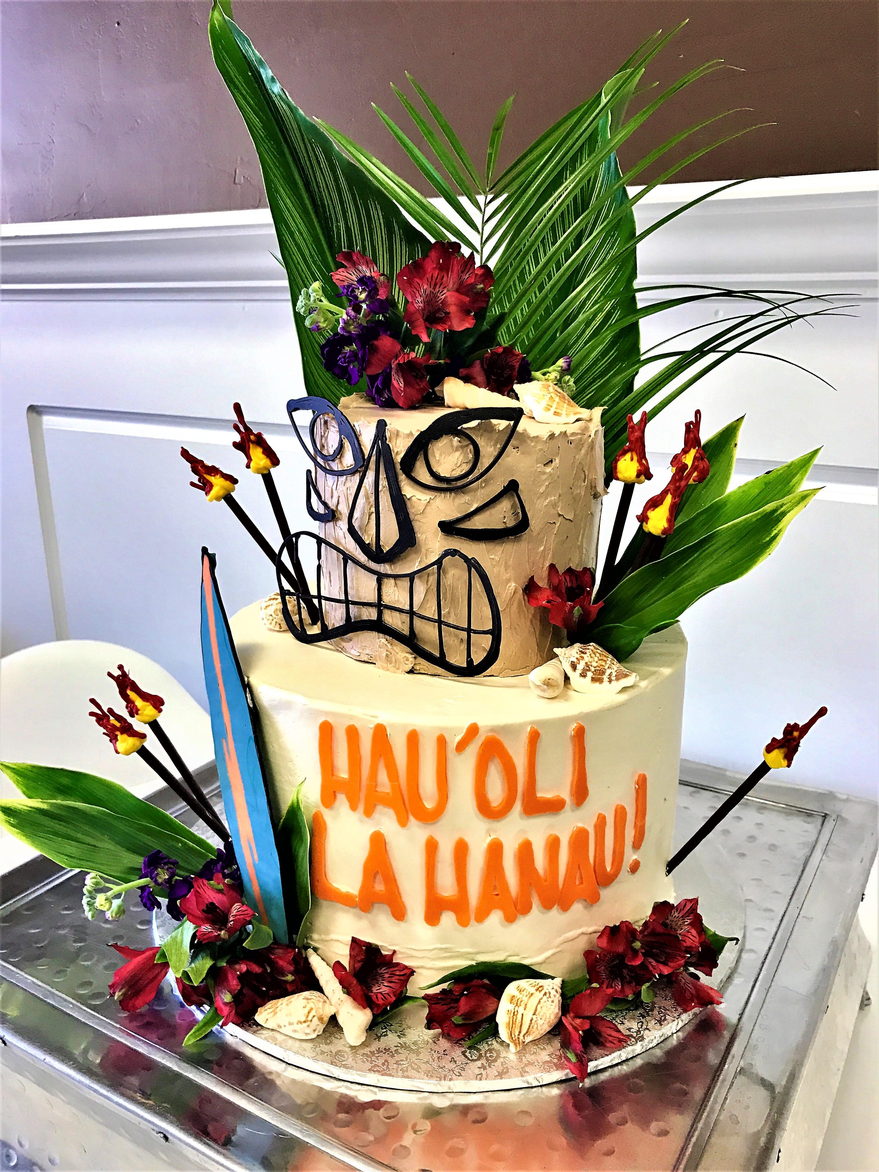 """2 tier: 6'' / 10"""" hawaiian cake"""