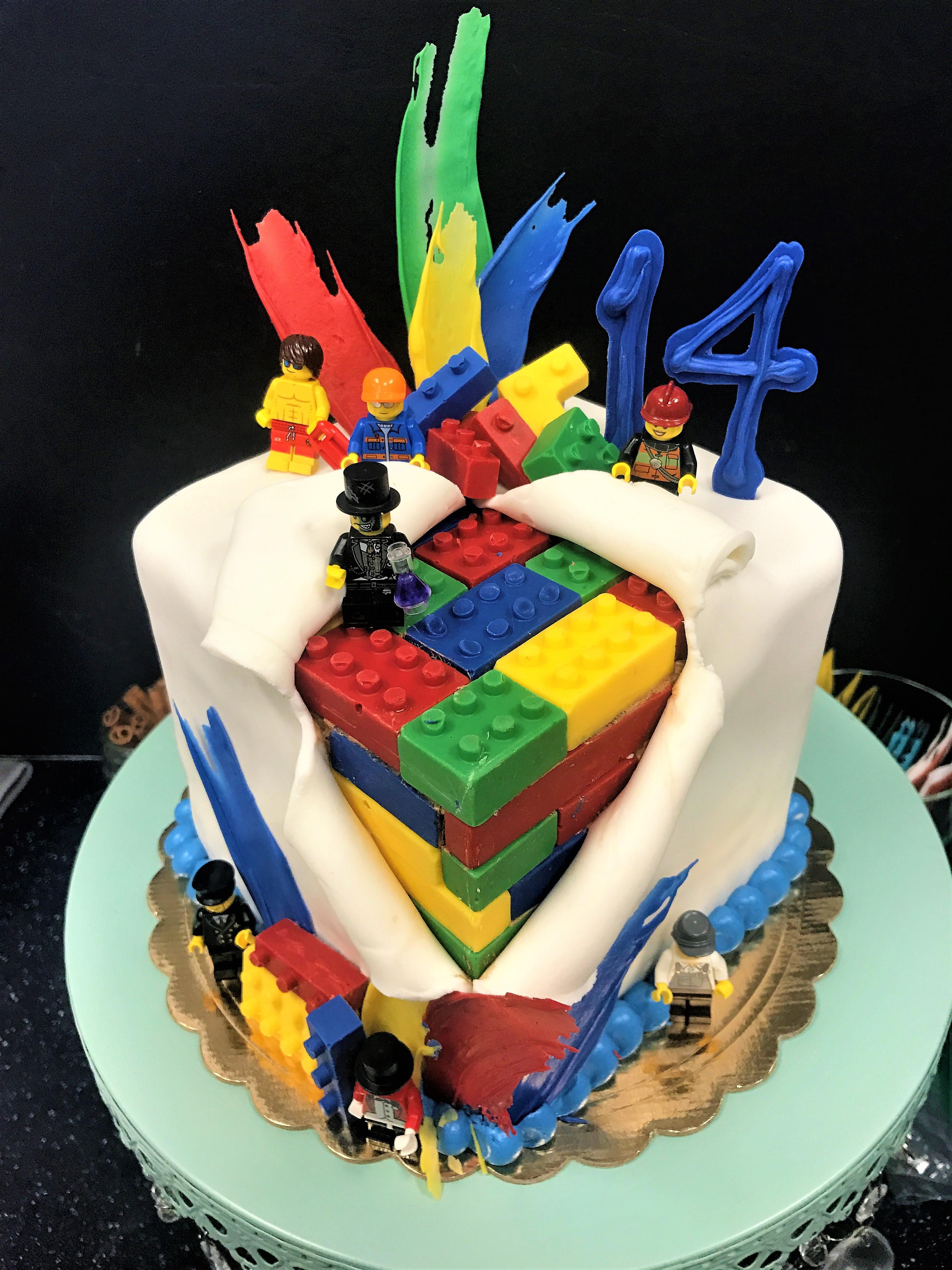 6'' square lego cake