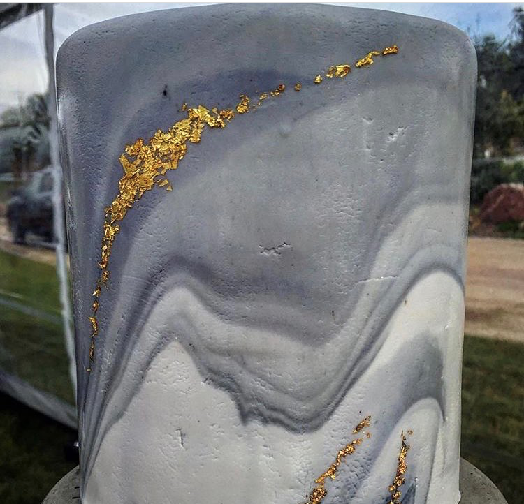 """6"""" marbled with gold leaf"""