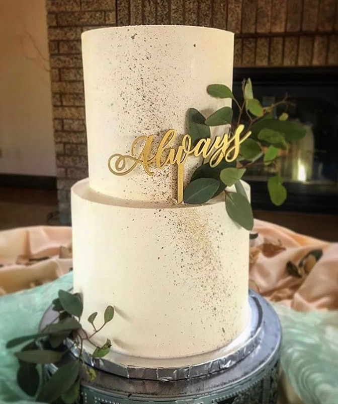 """2 tiered: 6"""" / 8"""" classic simple with gold splatter"""