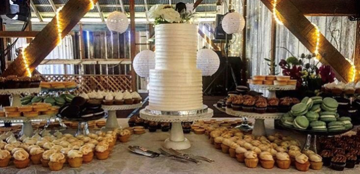 """dessert bar with 2 tiered: 6"""" / 8"""" ribbed cutting cake"""