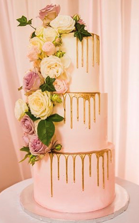 """3 tiered: 6"""" / 8"""" / 10"""" light pink with partial gold drips"""